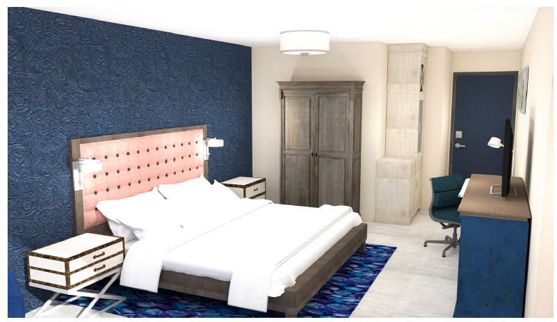 Oysters Theme Guest Room Rendering Angle 2