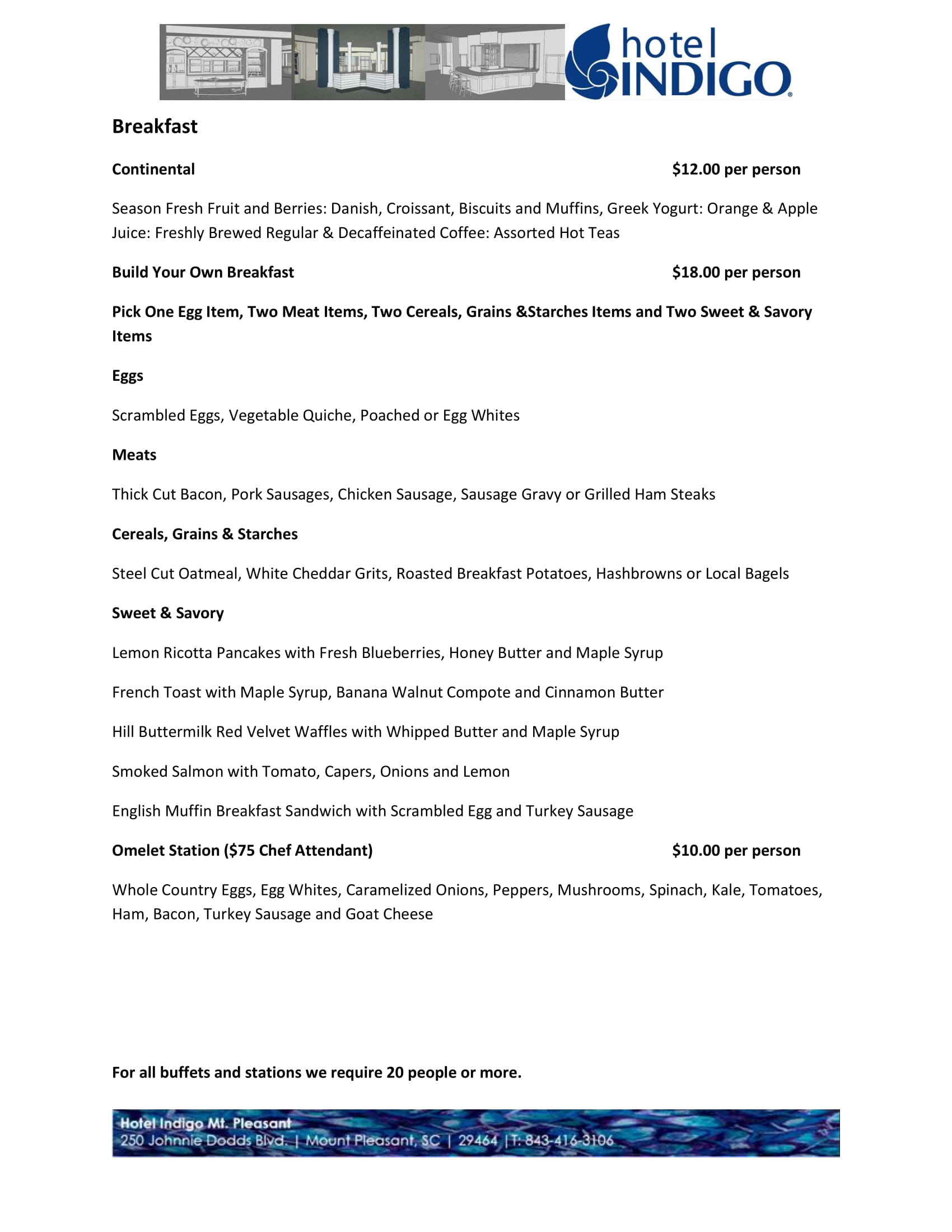 hotel indigo mount pleasant catering menu