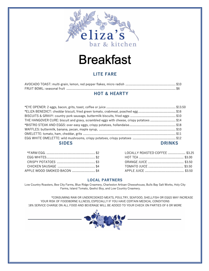 elizas breakfast menu new