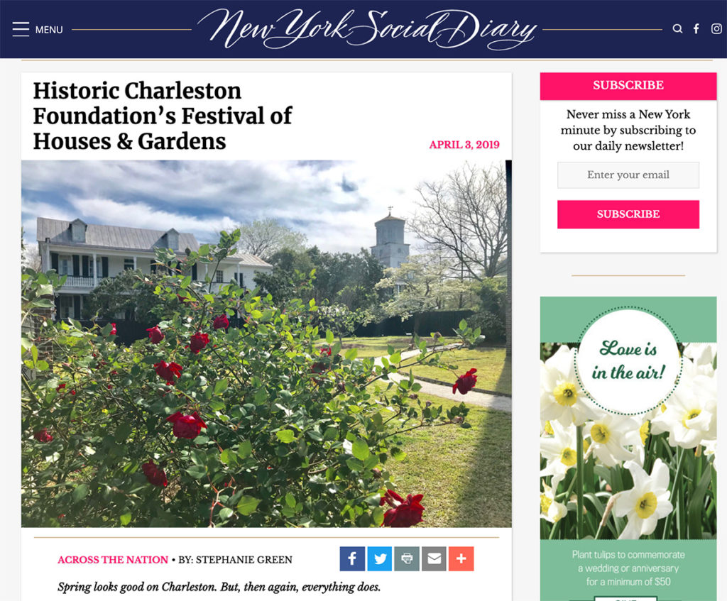 New York Social Diary - Historic Charleston Foundation's Festival of Houses & Gardens. Hotel Indigo Mount Pleasant Charleston Hotel feature.